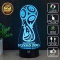 2018 Copa Do Mundo da Rússia Zabivaka 3D Motocicleta Lâmpada LED Decorativo candeeiro de mesa usb novelty night lights presente da criança hui yuan marca