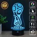 2018 Rusia Copa Del Mundo Zabivaka 3D Motocicleta Lámpara LLEVADA Decorativa luces de la noche del regalo del niño lámpara de mesa usb novelty hui yuan marca