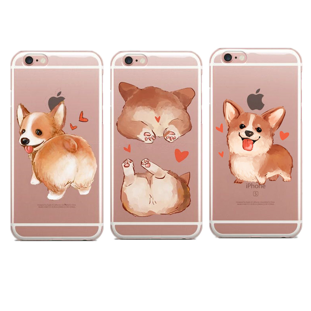 separation shoes 6bfea f939d Super Cute Cartoon Dog Big Ass Corgi rose Pug Soft TPU Phone Cases Cover  For iPhone 5 5S SE 6 6S Plus 7 XR XS Max 8 8Plus X 10