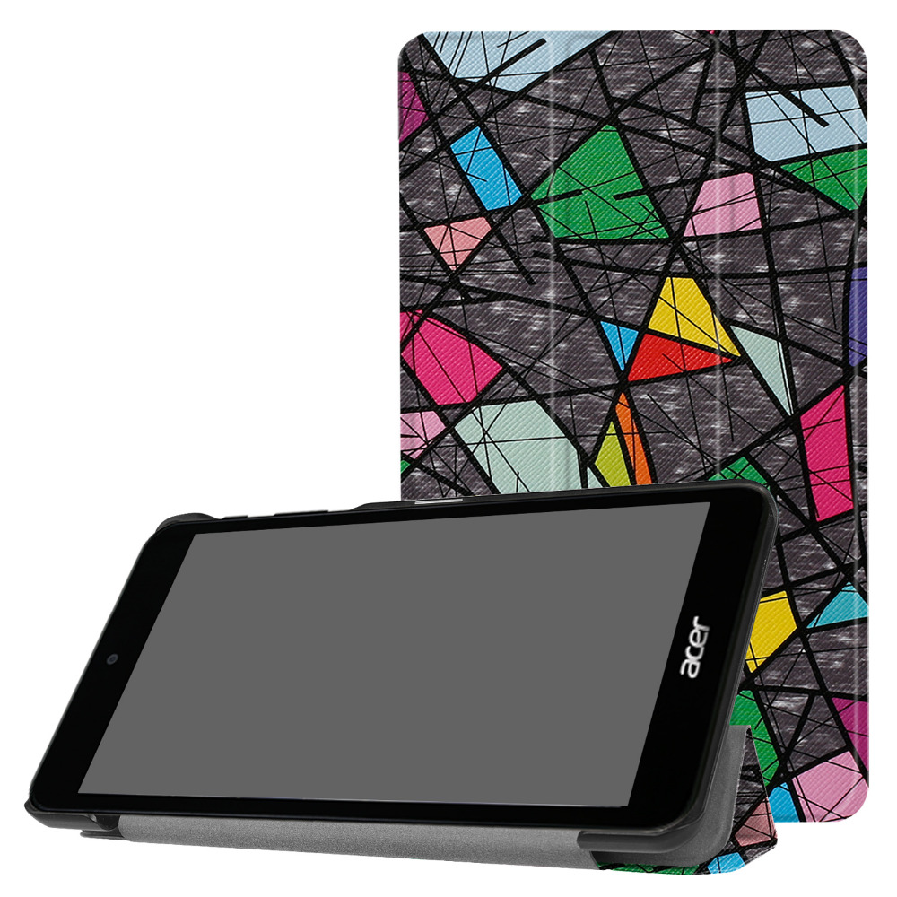 "Ultra Thin Slim Magnetic Protective Cover Print Folio Stand PU Leather Case For Acer Iconia One 7 B1-790 7"" Tablet + Film + Pen"