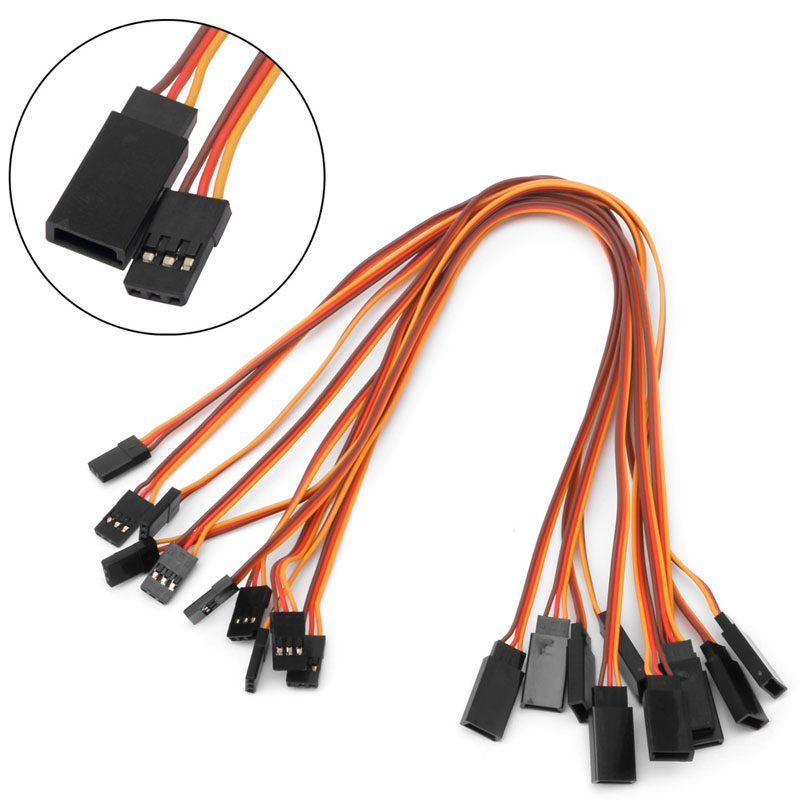 10Pcs 150 / 200 / 300 / 500mm Servo Extension Lead Wire Cable For RC Futaba JR Male to Female 30cm(China)