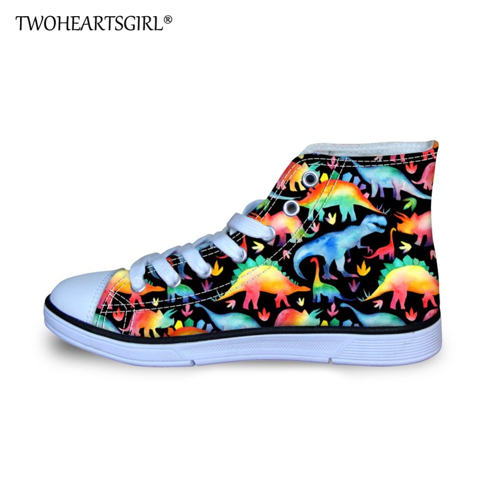 Twoheartsgirl Kids Sneakers High Top Canvas Shoes Rainbow Dinosaur Printed Little Boys Girls Personalized Kids Cute Casual Shoes цены онлайн