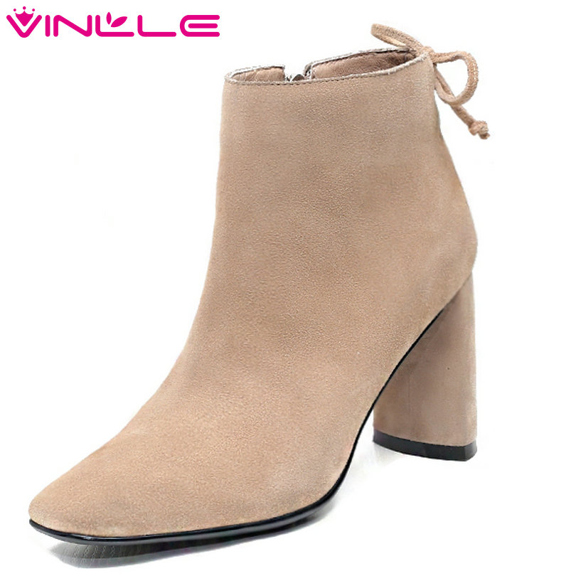 VINLLE 2018 Women Shoes Ankle Boots Square High Heel Pointed Toe Cow Suede Simple/Fashion Ladies Motorcycle Shoes Size 34-39 140cm real silicone sex dolls robot japanese realistic love doll sexy anime big breast vagina adult full life toys for men doll