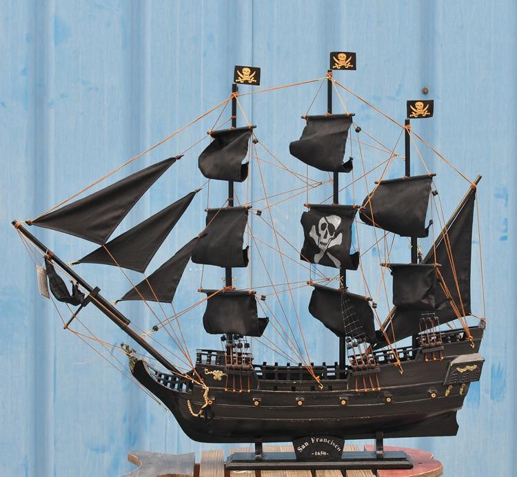 <font><b>Home</b></font> <font><b>Decoration</b></font> Mediterranean Style 80cm Caribbean Pirate Black Pearl Ship Model Birthday Gift Mediterranean Style Desk Ornament