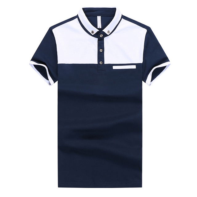 Korean Fashion Men White Polo Shirts Plus Size M-2XL New Summer Breathable Patchwoork Design Clothing Man Cotton Tees