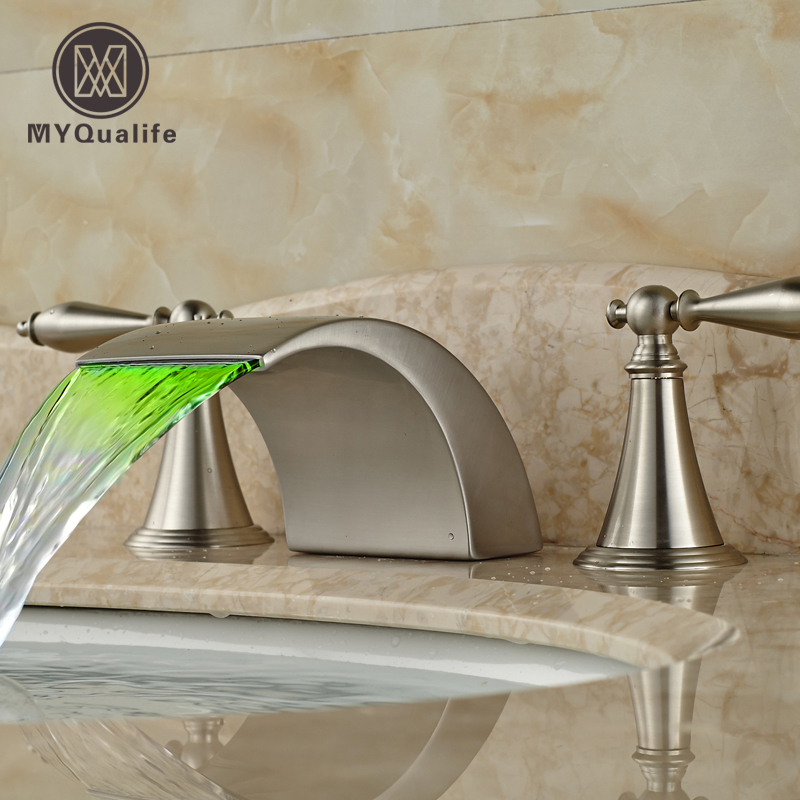 2016 New Widespread Waterfall Basin Sink Faucet Brushed Nickel Dual Handles LED Light Bathroom Mixer Tap brushed nickel waterfall bathroom sink basin mixer faucet widespread dual handles hot cold taps