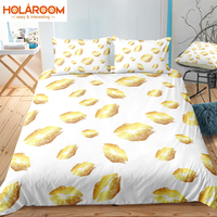 2/3PCs Printed Bedding Sets Gold Lips Duvet Cover Set For Home Textile Polyester White Background Bedroom Quilt Cover Pillowcase