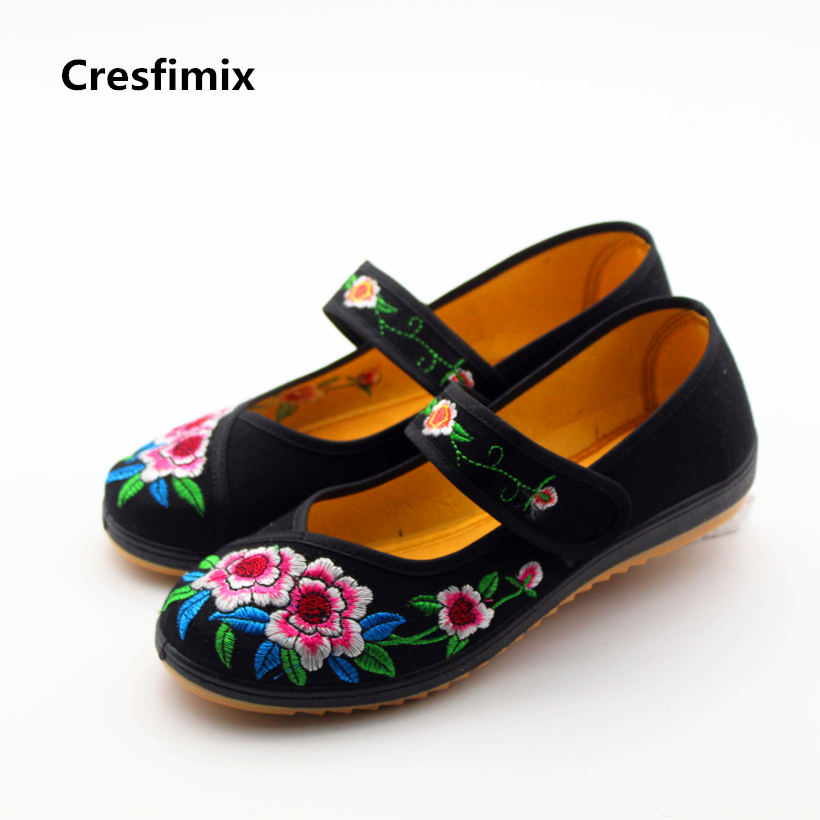 Cresfimix women cute spring and summer floral flat shoes lady retro red dance shoes female soft & comfortable shoes zapatos cresfimix women casual breathable soft shoes female cute spring