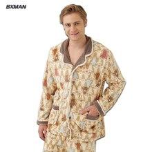 BXMAN Бренд мужской Зимние Pijamas Хомбре Повседневная Пижамы Утолщаются Теплый Полиэстер Твердых отложным Воротником Полный Рукавом пижамы Набор