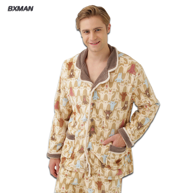 BXMAN Brand Men's Winter Pijamas Hombre Casual Pajamas Thicken Warm Polyester Solid Turn-down Collar Full Sleeve Men Pajamas Set