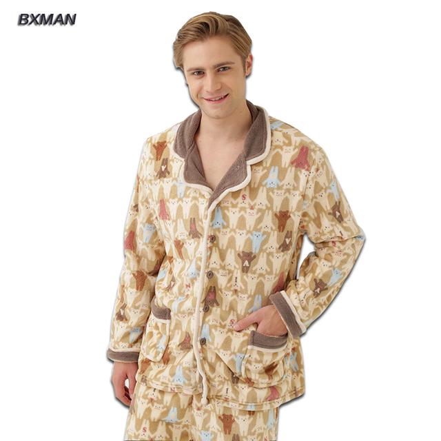 BXMAN Marca hombres Pijamas Pijamas Invierno Hombre Ocasional Espesar Cálido de Poliéster Sólido Da Vuelta-abajo de la Manga Completa de Los Hombres pijamas Set