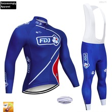 2019 Pro Team Cycling Jersey Set FDJ Blue Winter Thermal Fleece Long Sleeve Men Road MTB Bike Bicycle Cycling Clothing Set 16D wosawe soft thermal fleece cycling jersey long sleeve mtb bike bicycle shirt road cycling autumn winter sports wear