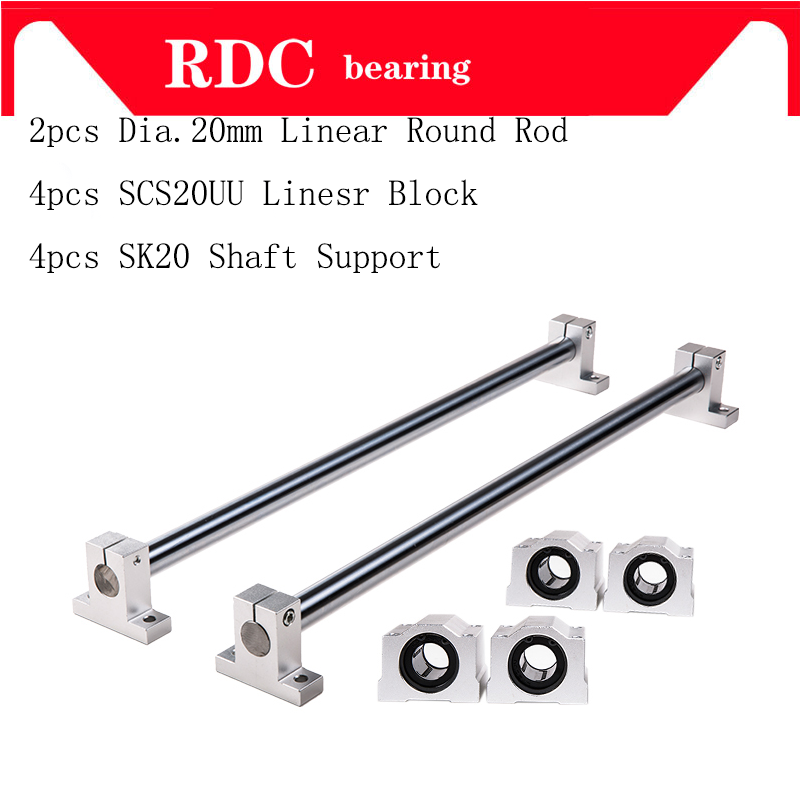 Linear Round Rod 20mm chrome plated linear motion rail rod shaft+ SCS20UU Linear Slide Bearing Block +SK20 Shaft Support
