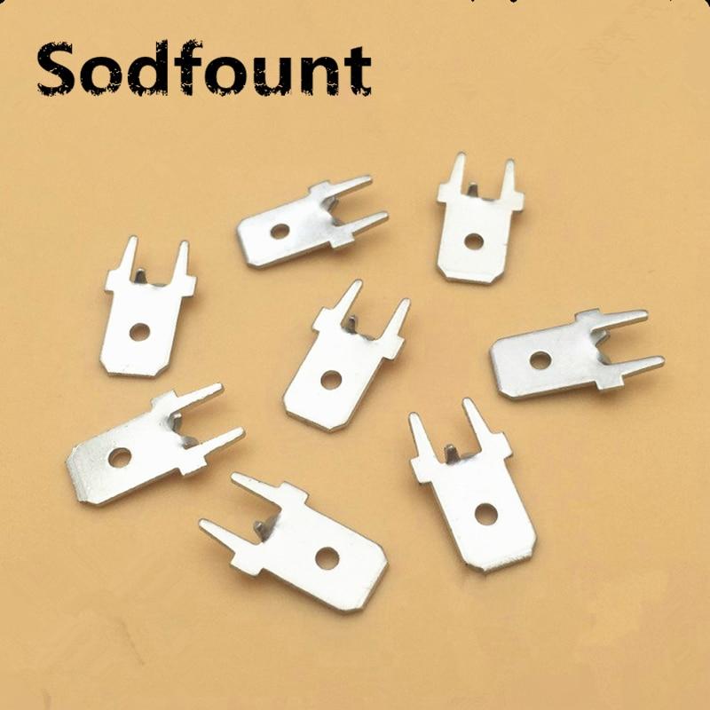 100pcs 6.3 Inserts Plug Spring Terminal 250 PCB Solder lug DJ611 6.3 thickness 0.8 two legs ,PCB welding sheet