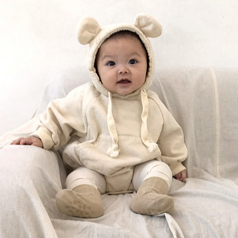 Cute Newborn Kids Baby Boy Baby Girl Warm Infant Cotton Long Sleeve Romper Jumpsuit Hooded Clothes Sweater Outfit 0-3Y