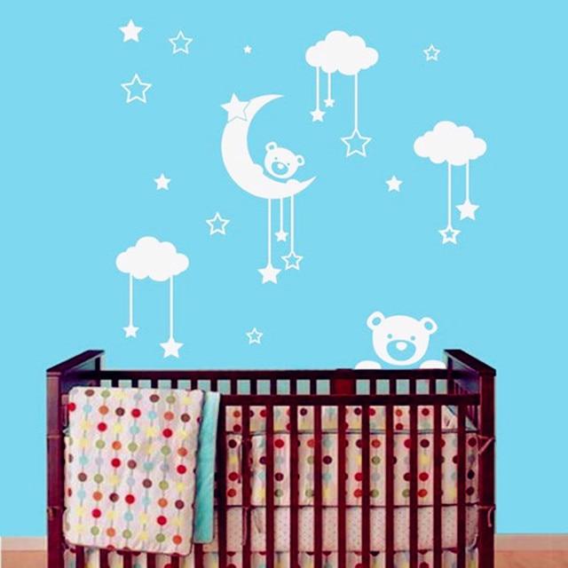 2016 New Cute Teddy Bear, Moon, Stars Wall Sticker Baby Bedroom Wall Art  Decor
