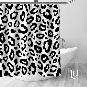 Image 4 - Big Sale New Custom Leopard Modern Shower Curtain with Hooks bathroom Waterproof Polyester Fabric