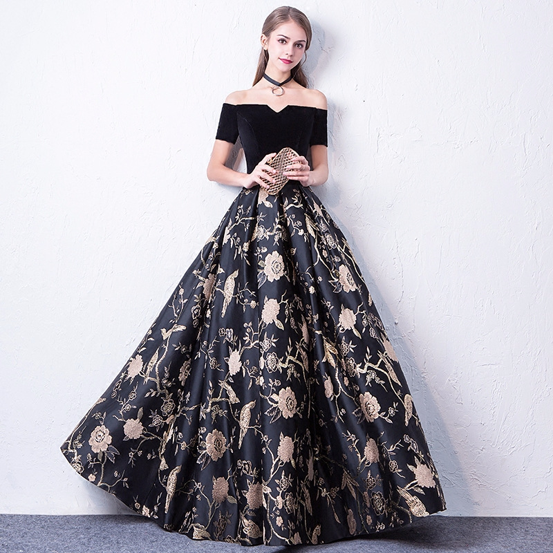 BLACK Embroidery Floral Elegant Evening Party Dress 2019 New Lady Noble Full Length Slim Ball Gown Improved Cheongsam S-XXXL