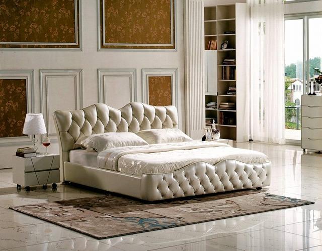 Botones de diamantes copetudo contemporáneo muebles de dormitorio moderno cama de cuero genuino hechos en China