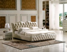 diamond buttons tufted contemporary genuine leather bed modern bedroom furniture made in China