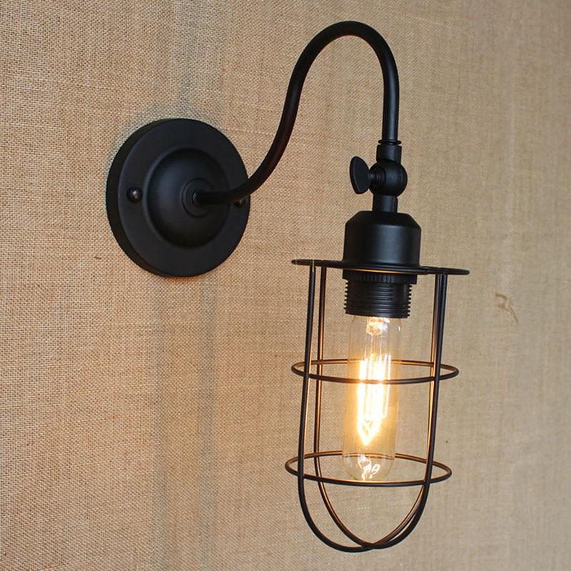 morden americký průmysl nástěnná svítidla Nostalgic Vintage Iron Loft Ulička koupelnová studie Nástěnná lampa pro balkon