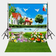 150x210cm Cartoon Natural Scenery Backdrop Colorful Flowers Sunny Day Photography Background Spring Outing