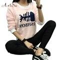 ArtSu Cashmere Winter Warm Hoody Autumn Outwear Tracksuit Sweatshirt Women Casual Fish Bone Hoodies Top Clothing ASHO50047