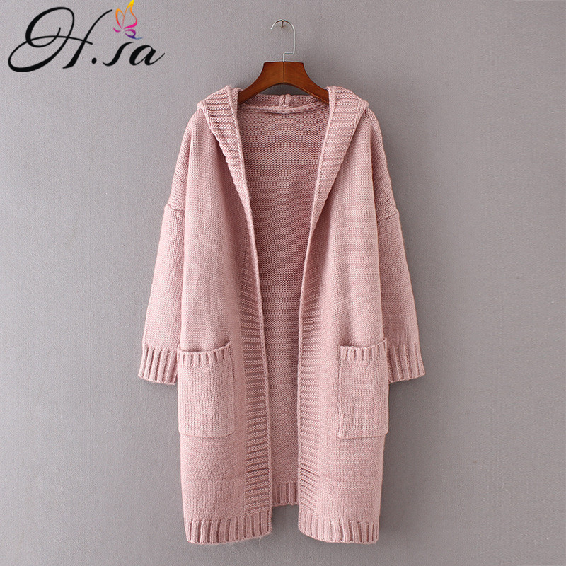 H.SA 2017 Autumn Women Long Knitted Sweater Coat Hooded Sweater Cardigans Poncho Pockets Jumpers Sweater Long Casaco Feminino