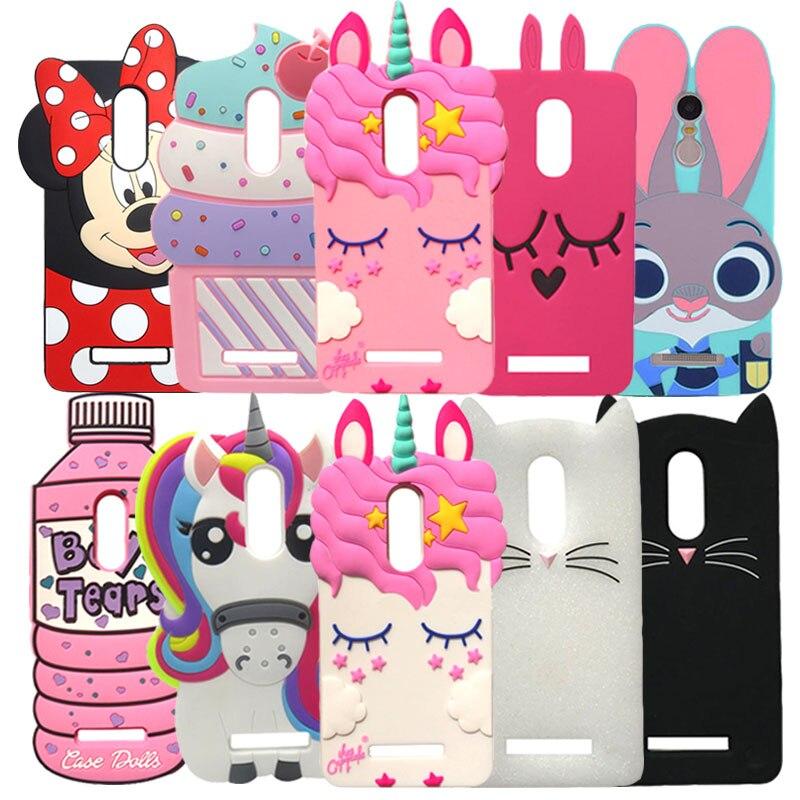 Galleria fotografica Redmi Note 4X Case Cute 3D Silicon Rabbit Minnie Cat Unicorn Cartoon Soft Phone Case Cover For Xiaomi Redmi Note4 Note 4 4X