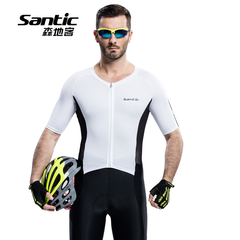 Santic Men Cycling Short Jersey One-piece Suits Anti-UV Breathable 4D Padded MTB Road Bike 1/2 Short Quick Dry Bicycle Skin suit santic men short sleeve cycling jersey breathable summer cycling clothing mtb road downhill bicycle bike jersey anti sweat