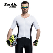 Santic Men Cycling Short Jersey One-piece Suits Anti-UV Breathable 4D Padded MTB Road Bike 1/2 Short Quick Dry Bicycle Skin suit