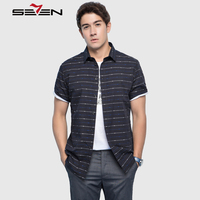 Seven7 Brand 2017 New Fashion Casual Shirts Slim Fashion Stripe Men Shirt 100 Cotton Brand Shirts
