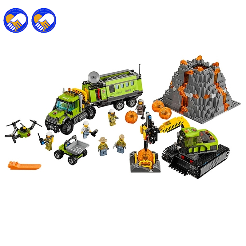 A toy A dream 10641 Bela City Series Volcano Exploration Base Geological Prospecting Building Block Bricks Toys Gift For 60124 a toy a dream lepin 24027 city series 3 in 1 building series american style house villa building blocks 4956 brick toys