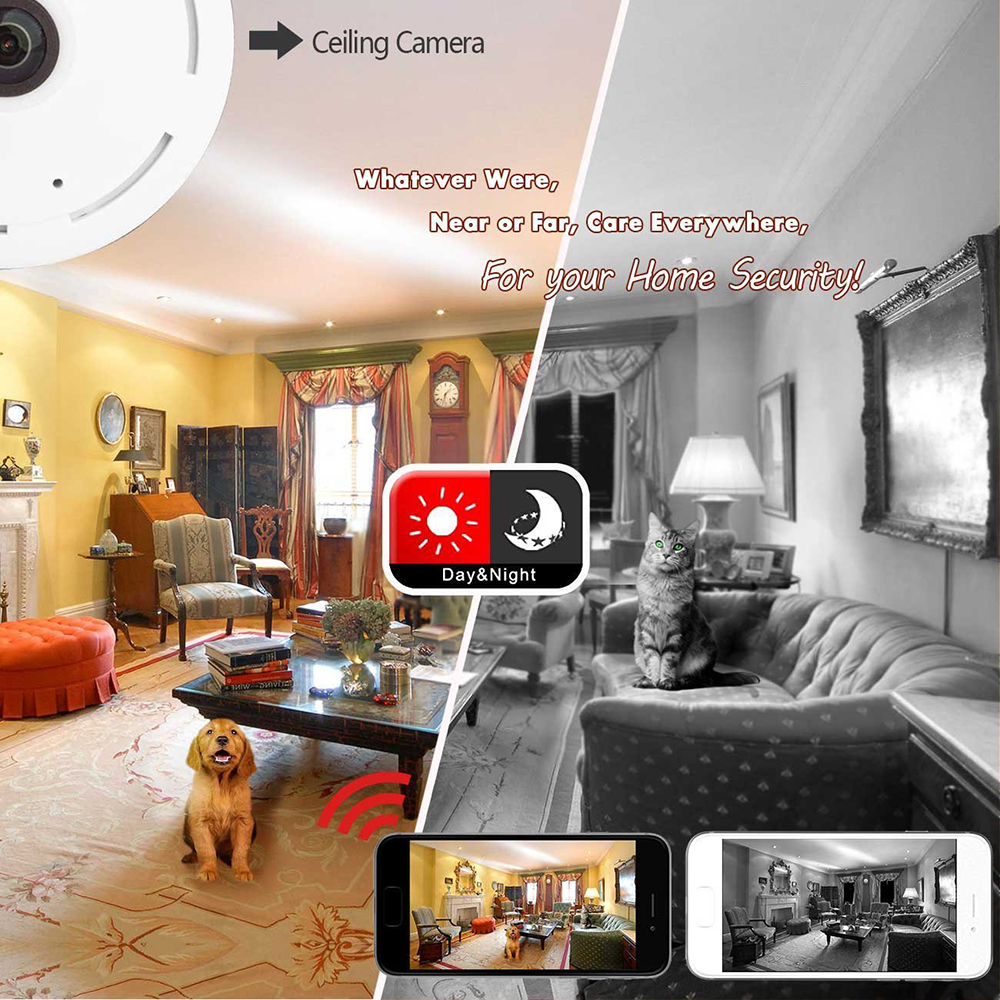 360 Degree Fisheye Panoramic IP Camera 1.3Megapixel 960P Wireless Wifi 2.4GHZ Security Camera Support IR Night Motion Detection