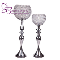 Candle Holder stand crstal goblet 25 or 29 tall Silver Ball Votive Holder