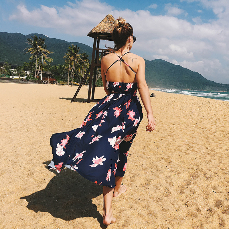 11 Colors Summer Beach Style Strap Sexy Chiffon Maxi Dresses Women New Deep V neck Backless Mid Calf Print Long Dress Vestidos in Dresses from Women 39 s Clothing
