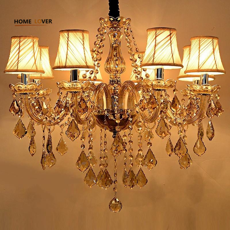 Modern Candle Chandelier Wrought Cognac LED Crystal Chandeliers Lighting Fixture Switch Control Hanging Lamp For Decoration