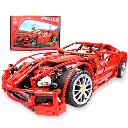Free Delivery 1:10 Decool 3333 599GTB  F1 Racing Automotive Mannequin Supercar Constructing Blocks Toy Pink Assemblage Legoe Mind Recreation Present