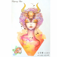 Fashion 12 Constellation Waterproof Hot Temporary Tattoo Stickers Taurus