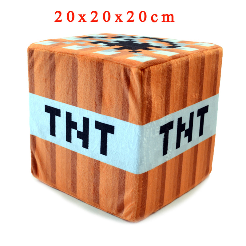 20cm Minecraft TNT Plush Toys Cartoon Game Square Stuffed Toys Pillow Minecraft Bomb Soft Plush Toy for Kids Children Xmas Gifts 2015 hot 24 60cm huge big minecraft ender dragon plush soft black minecraft pp cotton minecraft dragon toys