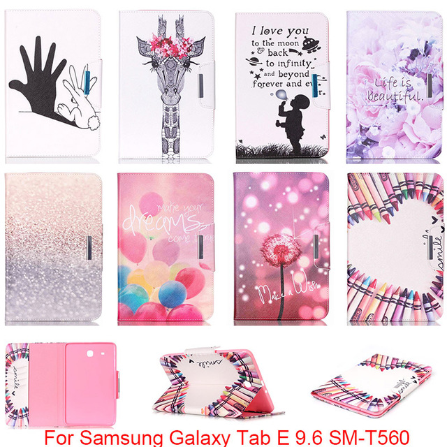 For Samsung Galaxy Tab E 9.6 T560 T561 SM-T560 Case Fashion Cartoon Pattern Folio PU Leather With Card Slot Protector Back Cover