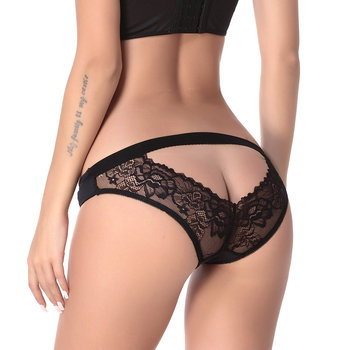 XS-3XL Crotchless Open Back Lace Lingerie Satin Bow Sexy Panties Plus Size Women Briefs Underwear Women's Breathable sexy panties new fashion women lace lingerie plus size underwear open crotch bowknot briefs underwear crotchless underpants