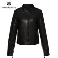 WINTER PALACE 2017 fashion classic style leather jacket,Short,Sheepskin,Casual,black,Leather jacket women