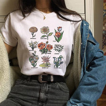 New Women Summer 2019 Harajuku Flower Plant Loose Casual Letter Printed Graphic Fashion Ladies Tshirt Woman