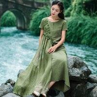 2017 Retro Art Literary Style Mori Girl Dress Was Thin Cotton And Linen Embroidery Dress Wj771