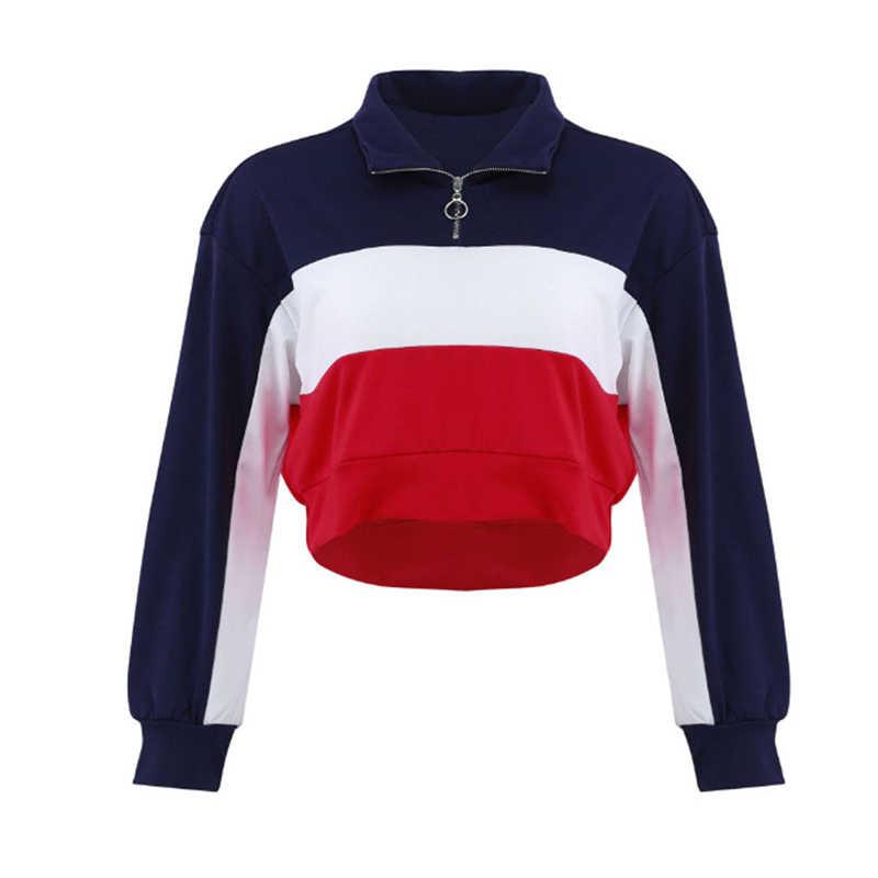 女性プルオーバーパーカークロップトップ秋長袖ショートスウェットシャツ女性パッチワークジッパー V ネック服トップスファッション