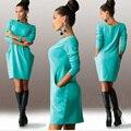 Плюс Размер 5XL Новая Мода Осень и Зима Шею Длинным Рукавом Сплошной Цвет Тонкий Pcoket Работа Офис Женщины Платье