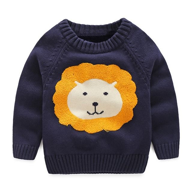 High Quality LittleSpring Fashion New Autumn Boys Cartoon Sweater Pure Cotton Winter Thick Sweaters Coat Kids Boy Knit Pullover