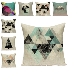 Geometric Print Cushion Cover Letter Decorative Pillow Case Sofa Throw Pillowcase Car Seat Accessory Home Textile Decor 45x45cm