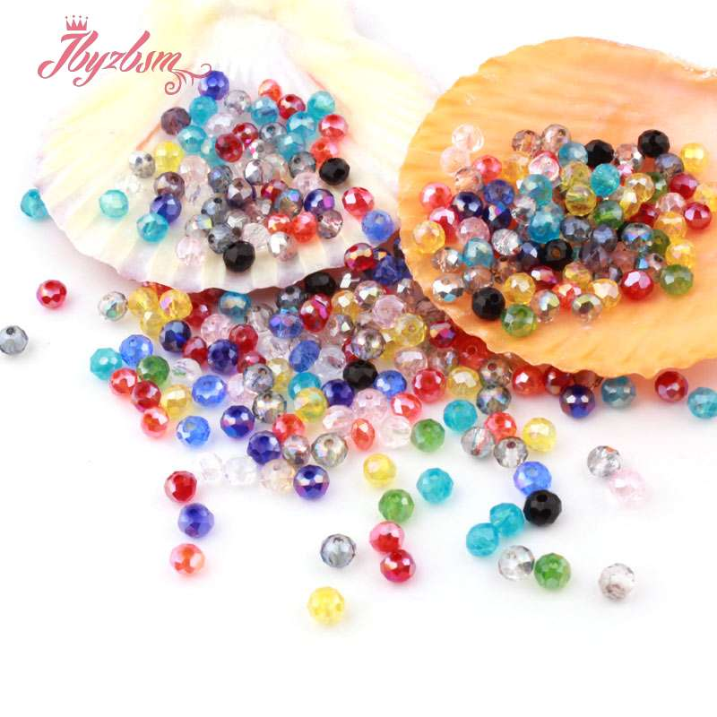 Mixed Colors 50pc Rondelle Austria Crystal Glass Beads Faceted Loose Spacer For Jewelry Making DIY Necklace Breaclet Beads 3*4mm